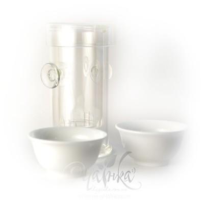 Чайний комплект «Егоїст» (скляна заварювальна колба + дві піали + рушничок)
