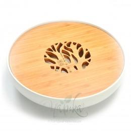 Чабань  кругла (чайна дошка), кераміка/бамбук